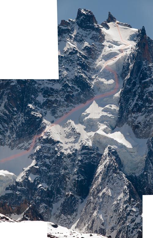 Andreas Fransson, Xavier de Le Rue, face nord, Aiguille du Plan (3673m).