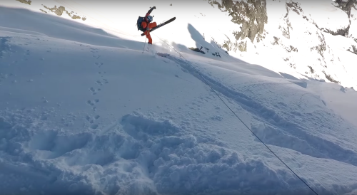 backcountry skier triggering avalanche